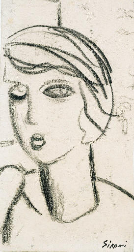 Face of a young girl by Mario Sironi (1885-1961, Italy) |  | WahooArt.com