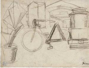 Mario Sironi - Urban Landscape with bicycle