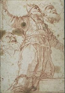 Mattia Preti - Zachary on his knees, and studies of his head