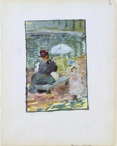 Maurice Brazil Prendergast - A mother sitting at the edge of a pond with her baby and a young daughter