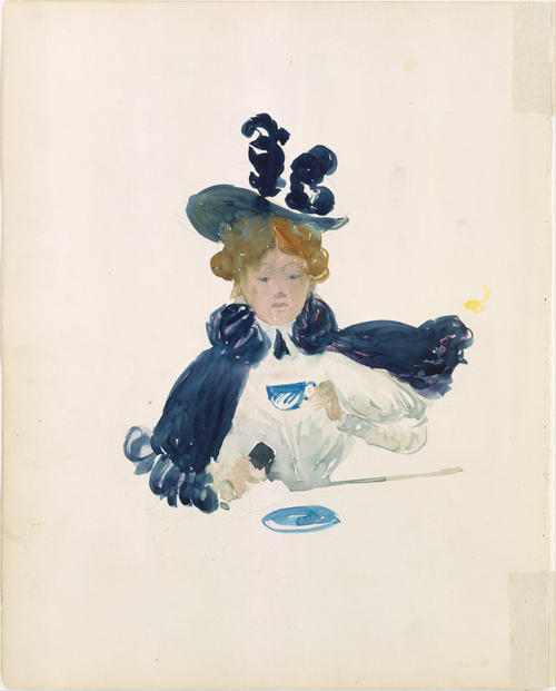 A woman drinking tea by Maurice Brazil Prendergast (1858-1924, Canada) | Museum Quality Reproductions | WahooArt.com