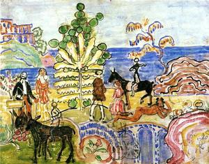 Maurice Brazil Prendergast - Fantasy (aka Fantasy with Flowers, Animals and Houses)