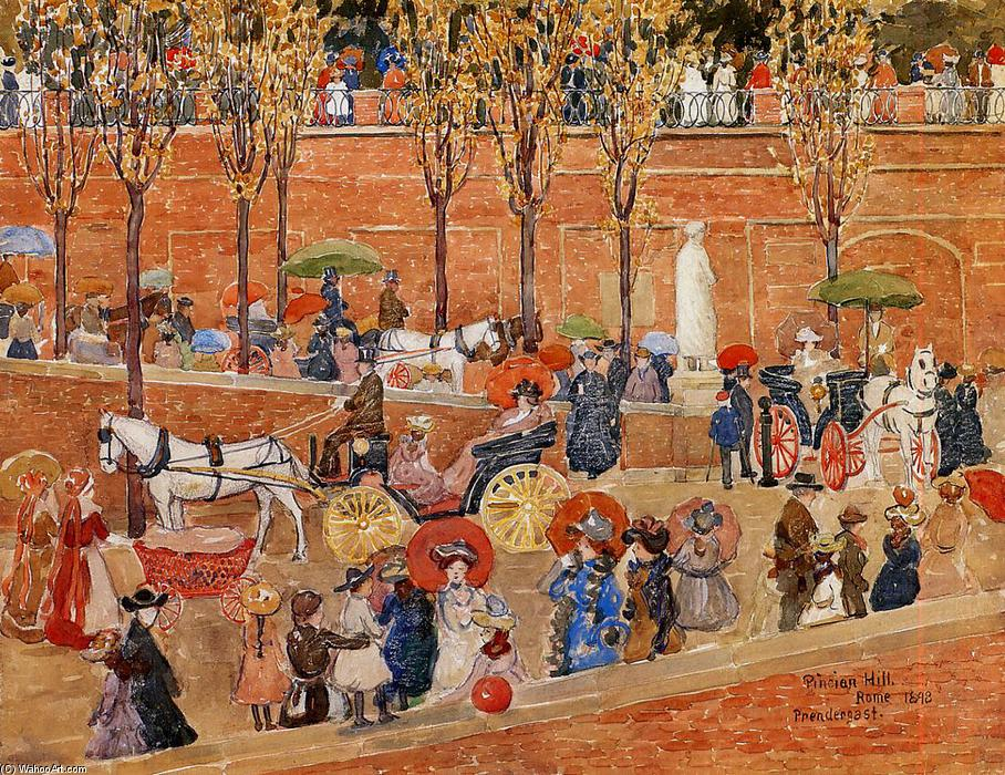 Pincian Hill, Rome (aka Afternoon, Pincian Hill) by Maurice Brazil Prendergast (1858-1924, Canada) | Reproductions Maurice Brazil Prendergast | WahooArt.com