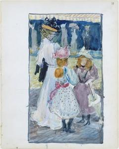 Maurice Brazil Prendergast - Two girls and a woman in a veiled hat