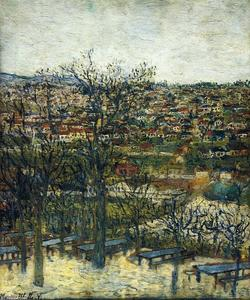 Maurice Utrillo - Benches at Montmagny (Val-d'Oise)