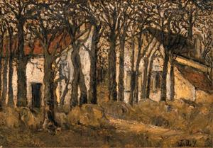 Maurice Utrillo - Houses behind trees, Montmagny