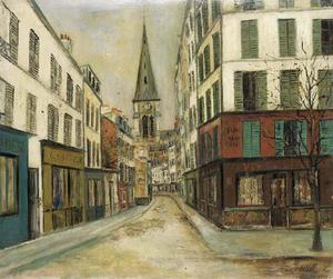 Maurice Utrillo - The street and the church