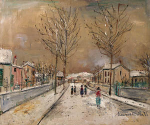 Maurice Utrillo - Village street in the snow in Sannois