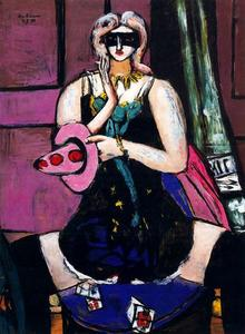 Max Beckmann - Carnival Mask, Green, Violet and Pink (Columbine)