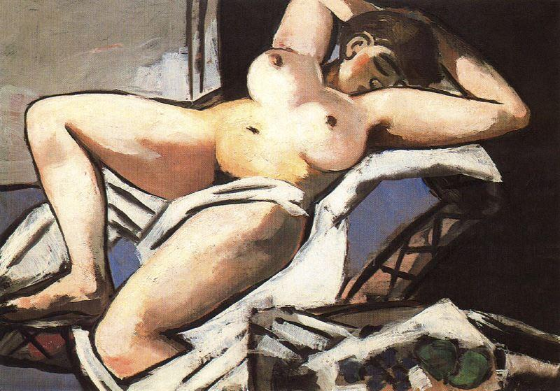 Reclining Nude, Oil On Canvas by Max Beckmann (1884-1950, Germany)