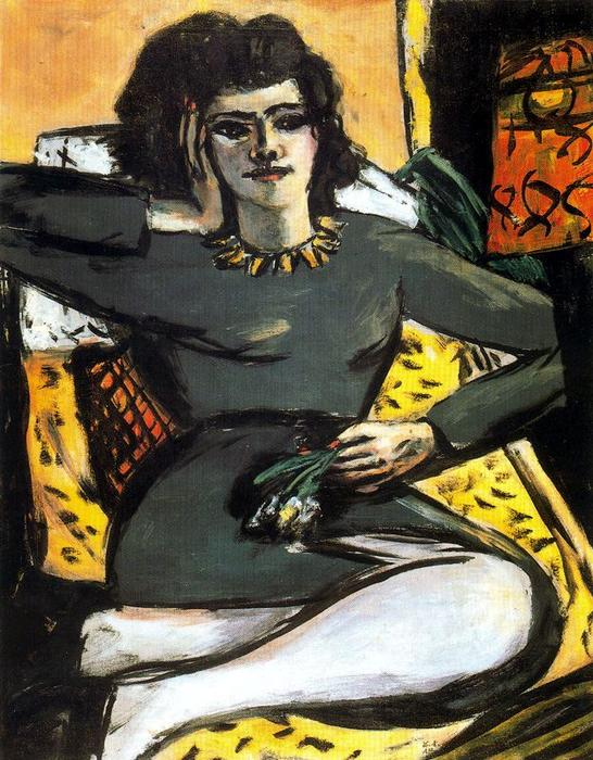 Resting Woman with Carnations by Max Beckmann (1884-1950, Germany) | Art Reproduction | WahooArt.com