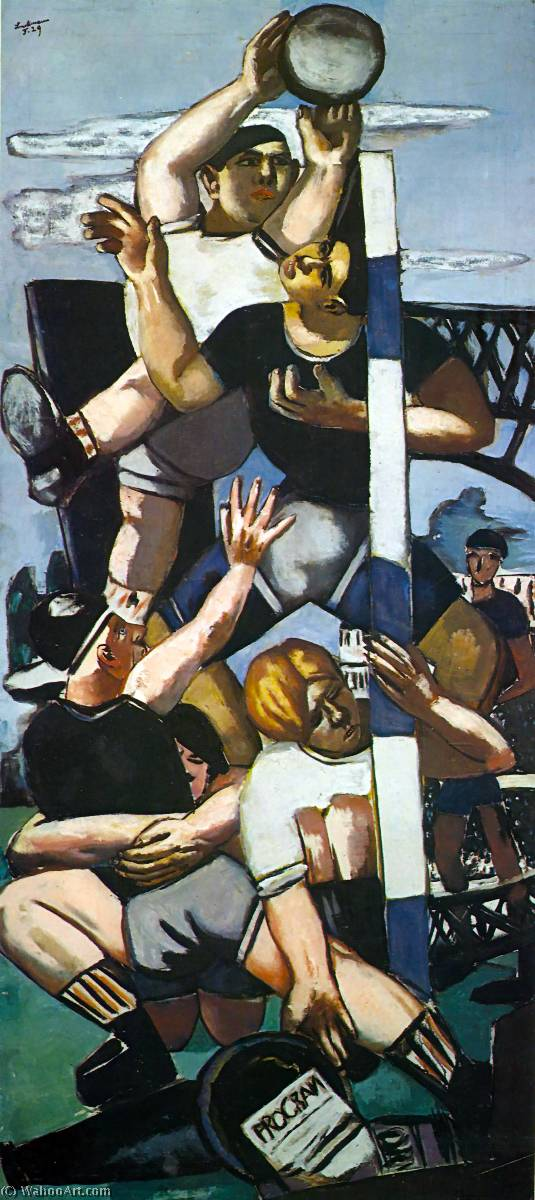 Rugby players, 1929 by Max Beckmann (1884-1950, Germany) | Oil Painting | WahooArt.com