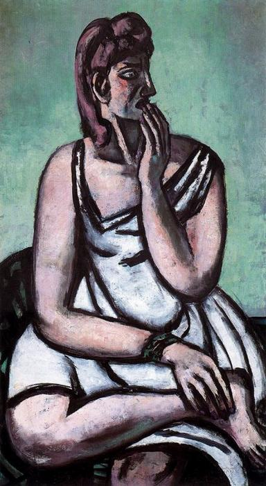 The Frightened Woman by Max Beckmann (1884-1950, Germany) | Famous Paintings Reproductions | WahooArt.com