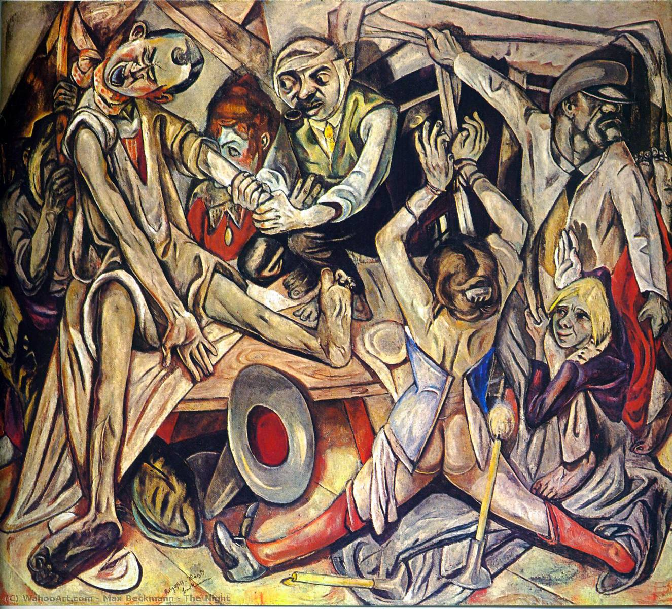 The Night, 1919 by Max Beckmann (1884-1950, Germany) | Famous Paintings Reproductions | WahooArt.com