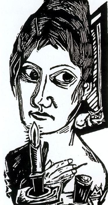 Woman with candle 1 by Max Beckmann (1884-1950, Germany) | Art Reproduction | WahooArt.com