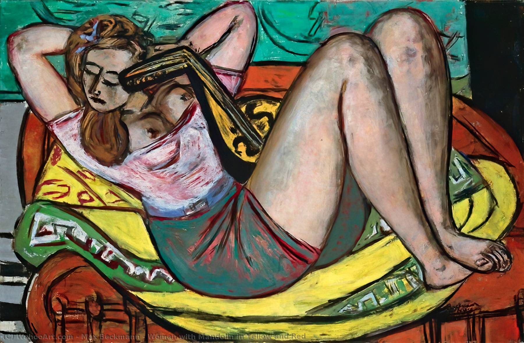 Woman with Mandolin in Yellow and Red by Max Beckmann (1884-1950, Germany) | Famous Paintings Reproductions | WahooArt.com