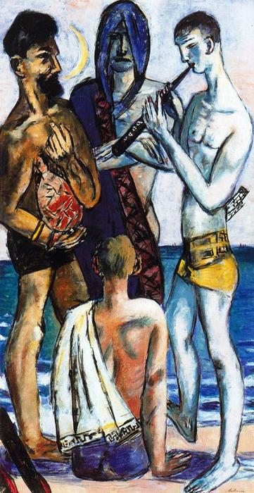 Young Men by the Sea by Max Beckmann (1884-1950, Germany) | Painting Copy | WahooArt.com