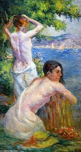Maximilien Luce - Saint Tropez, Two Woman by the Gulf