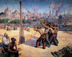 Maximilien Luce - The Pile Drivers, Quai de la Seine at Billancourt