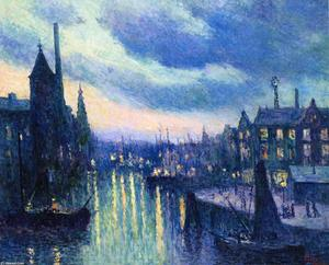 Maximilien Luce - The Port of Rotterdam, Evening