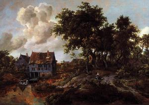 Meindert Hobbema - A Watermill beside a Woody Lane