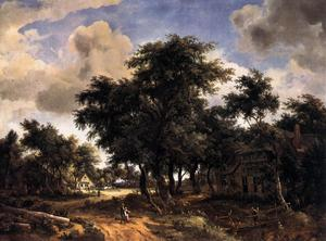 Meindert Hobbema - Village Street under Trees