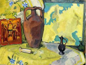 Mikhail Fiodorovich Larionov - Still Life with Jug and Icon