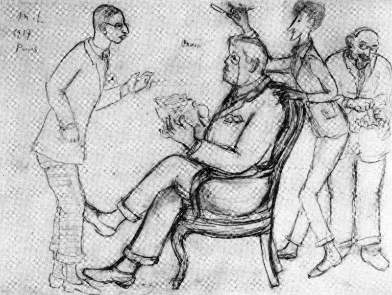 Stravinsky, Diaghilev, Cocteau and Eric Satie in París by Mikhail Fiodorovich Larionov (1881-1964, Russia)