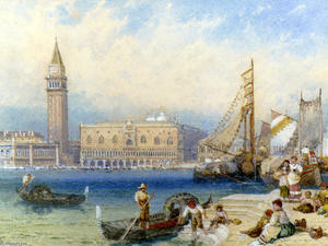 Myles Birket Foster - St. Mark's And The Ducal Palace From San Giorgio Maggiore