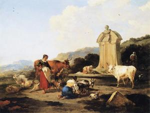 Nicolaes Berchem - Roman Fountain with Cattle and Figures