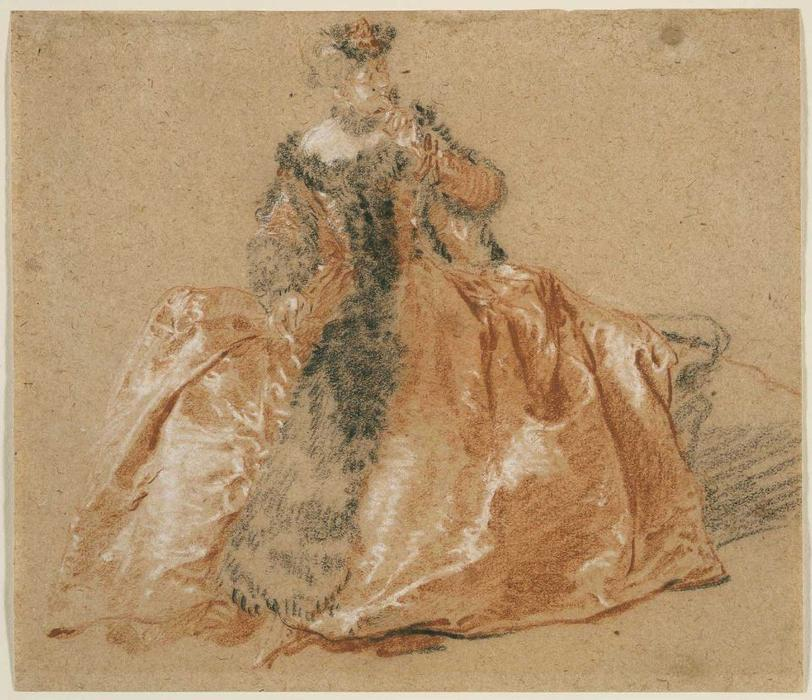 Lady with fur-trimmed dress by Nicolas Lancret (1690-1743, France) | Paintings Reproductions Nicolas Lancret | WahooArt.com