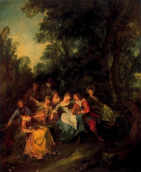 Spring by Nicolas Lancret (1690-1743, France) | Paintings Reproductions Nicolas Lancret | WahooArt.com