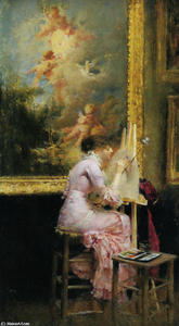 Pascal-Adolphe-Jean Dagnan-Bouveret - The artist in the museum