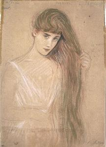 Paul Cesar Helleu - Girl from the waist, her long hair styling