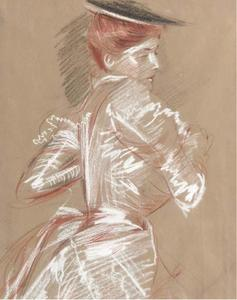 Paul Cesar Helleu - Young woman with red hair