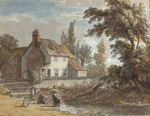 Paul Sandby - A cottage by a river with figures in the foreground