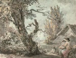 Paul Sandby - A mother and child seated in a garden