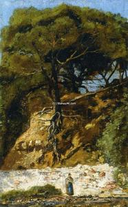 Paul Camille Guigou - Washerwoman at the Foot of a Large Pine Tree