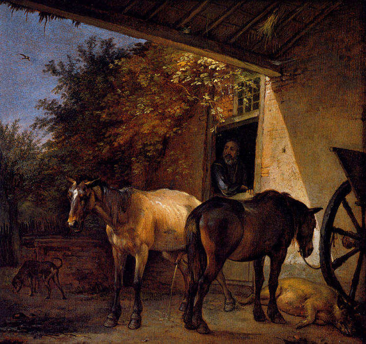 A Barnyard With Two Plough Horses by Paulus Pietersz Potter (1625-1654, Netherlands) | WahooArt.com