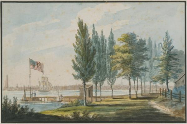 Philadelphia from across the Delaware River by Pavel Petrovich Svinin (1787-1839, Russia)