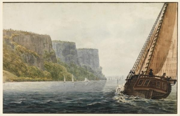 The Packet ''Mohawk of Albany'' Passing the Palisades by Pavel Petrovich Svinin (1787-1839, Russia)