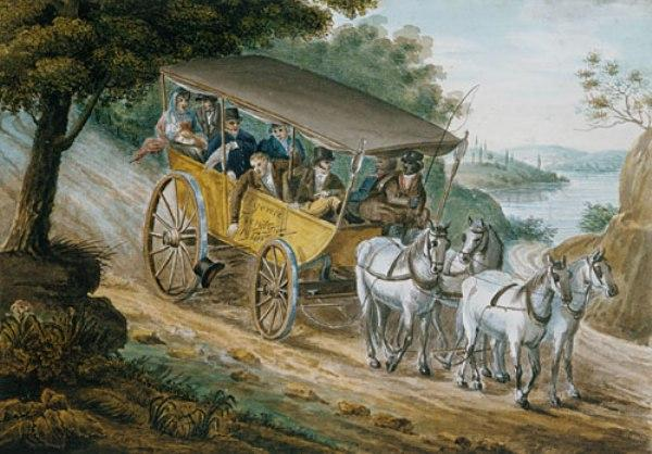 Travel by Stagecoach Near Trenton, New Jersey by Pavel Petrovich Svinin (1787-1839, Russia) | WahooArt.com