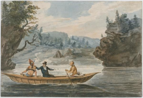 Two Indians and a White Man in a Canoe by Pavel Petrovich Svinin (1787-1839, Russia)