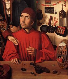 Petrus Christus - St Eligius in His Workshop 1