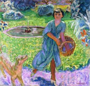 Pierre Bonnard - Girl Playing with a Dog (Vivette Terrasse)