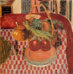 Pierre Bonnard - Trash and fruit plate on the red checkered tablecloth