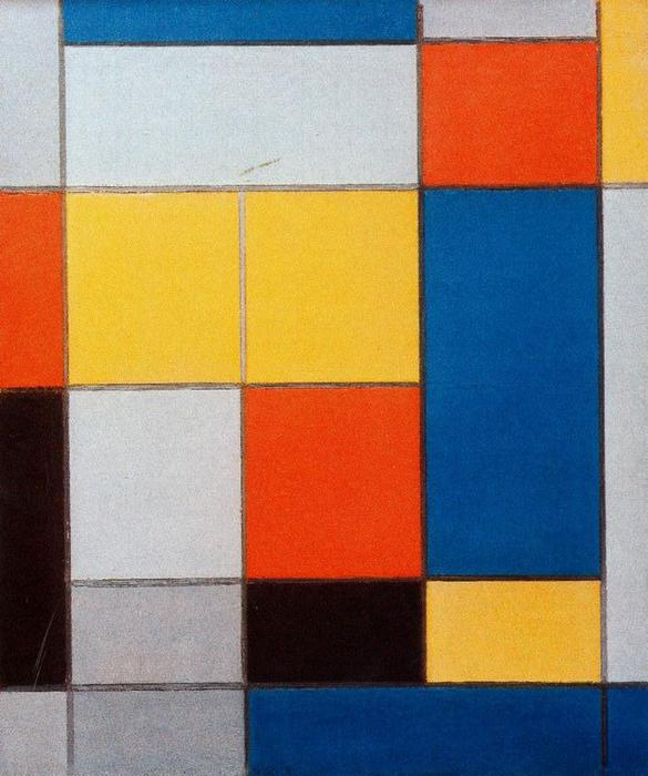 Composition with Red, Blue and Yellow-Green by Piet Mondrian (1872-1944, Netherlands) | Paintings Reproductions Piet Mondrian | WahooArt.com