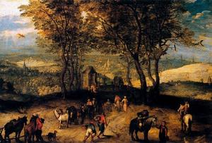 Pieter Bruegel The Younger - Landscape with walkers