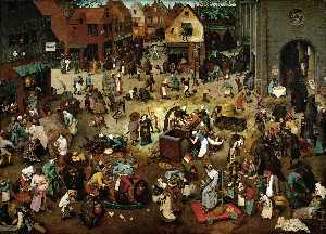 Pieter Bruegel The Younger - The Battle between Lent and Carnival - (Famous paintings reproduction)