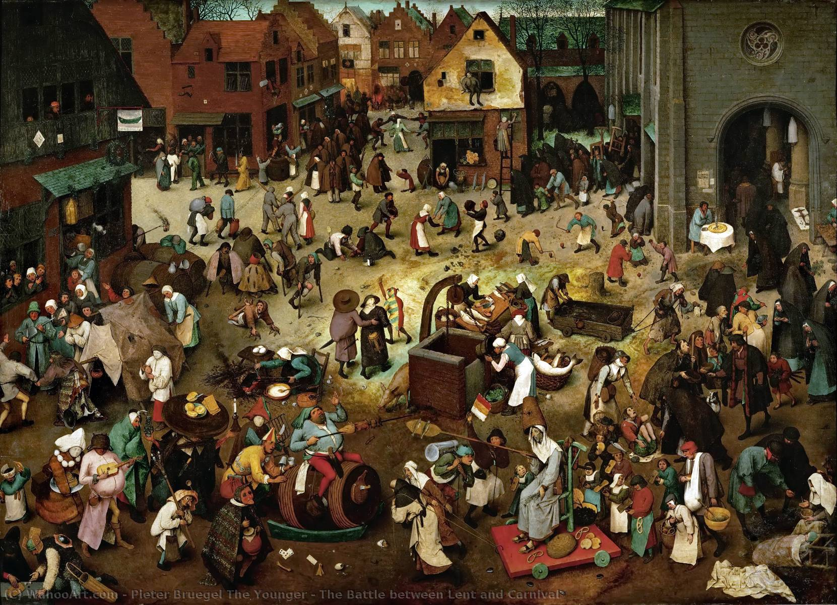 The Battle between Lent and Carnival by Pieter Bruegel The Younger (1525-1569, Belgium) | Famous Paintings Reproductions | WahooArt.com